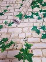 Fotobehang - Zelfklevende folie - Witte muur met Klimop