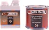 Tanksealer & Rust-arrestorSet om een roestige tank te reinigen. en voorzien van coating bestaat uit 250ml Rustarrestor + 500ml Tanksealer.