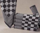 Homéé - Blokdoeken pompdoeken theedoeken zwart / wit  set van 6 stuks   65x65cm