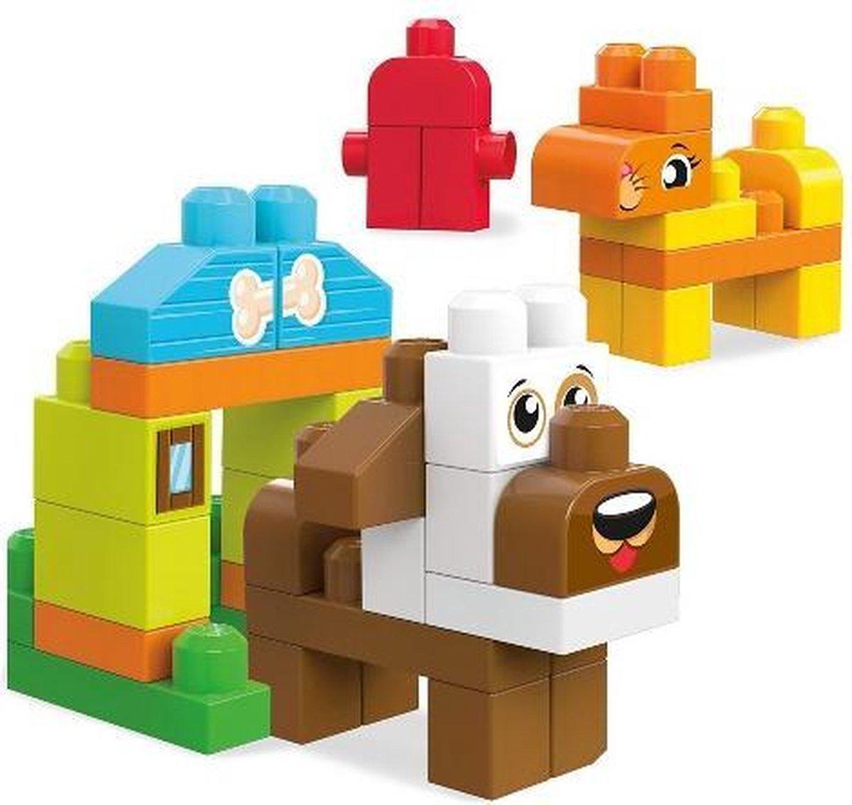 Fisher-Price Mega Bloks Dieren Bouwen, poes, hond en brandweerkraan