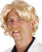 Blonde pruik met snor - Verkleedpruik - One size