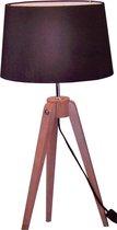 Grundig Tafellamp - driepoot - 64x29cm - hout + textiel
