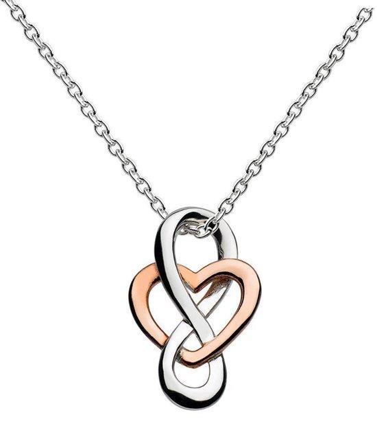 Fate Jewellery Ketting FJ481 – Infinity Heart – 925 Zilver, Rosé verguld – Hartje – 45cm + 5cm