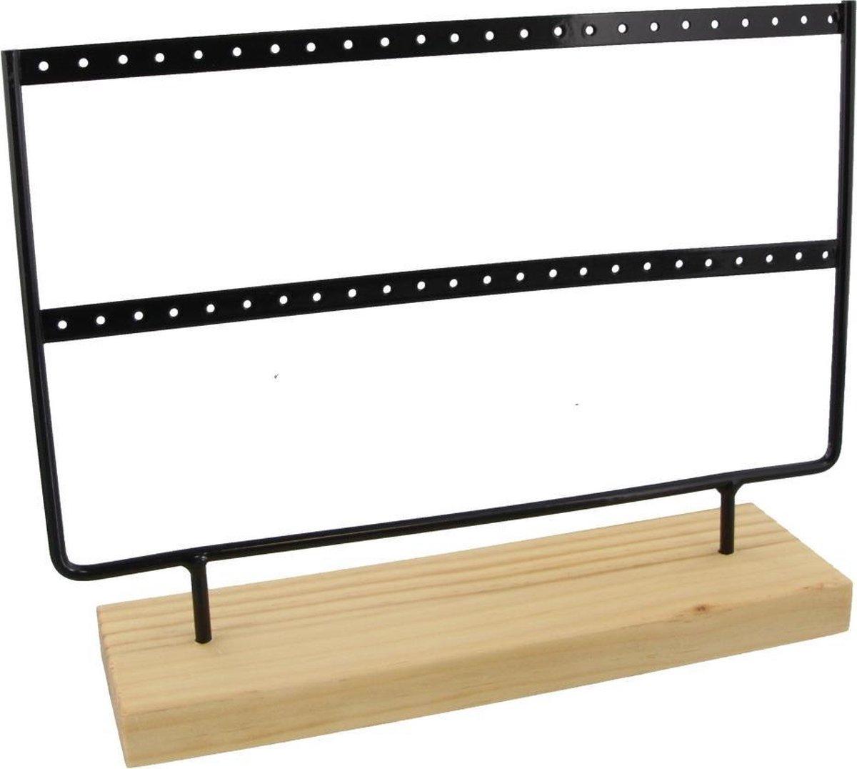 Dielay - Sieradenhouder - Display voor Sieraden - Oorbellenrek - Hout en Metaal - 27x22x7 cm - Zwart