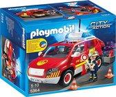 PLAYMOBIL Brandweercommandant met dienstwagen met licht en sirene - 5364