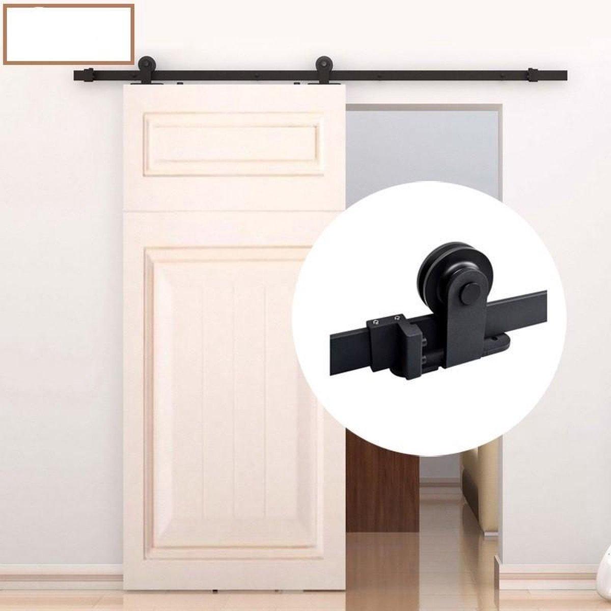 Schuifdeur systeem  - Schuifdeurbeslag - Mat zwart met hangrollen boven op - - XAPTOVi
