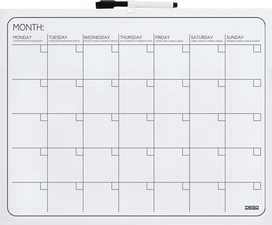 Afbeelding van DESQ® 4217 – Maand Planbord | Zonder Frame | 40 x 50 cm