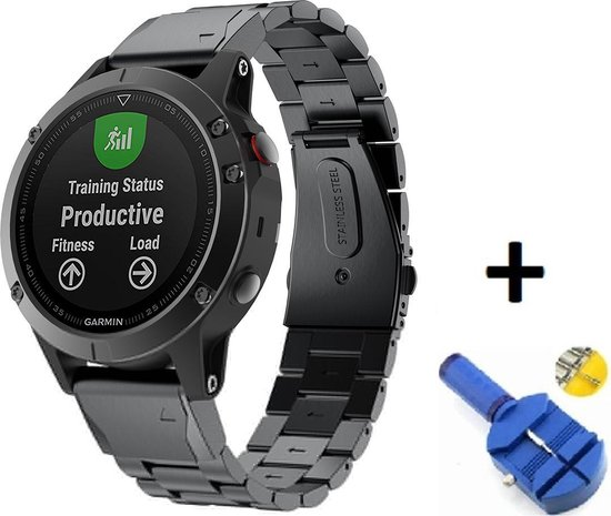 Metalen Armband Voor Garmin Fenix 5S (Plus) 6S Pro/Sapphire Horloge Band Strap - 20mm Armband Polsband - Quickfit - Small/Large - Zwart