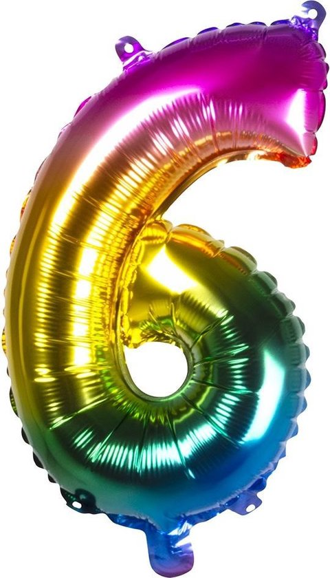 Boland Folieballon Cijfer 6 Latex Regenboog 36 Cm