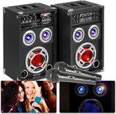 Karaoke set - Fenton KA-06 - Karaokeset 400W met Bluetooth, mp3 speler, AUX aansluiting en microfoon - Speakers met disco LED's!