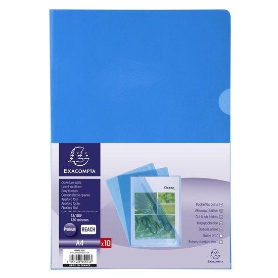 10x Pak van 10 L mappen - gladde PVC 13/100e - A4, Blauw