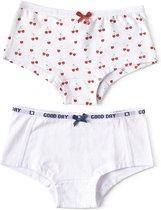 Little Label - meisjes - onderbroek - 2 stuks - wit, kersjes - maat 134/140 - bio-katoen