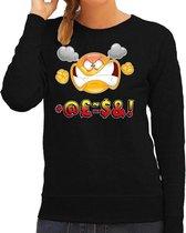 Funny emoticon sweater scheldend / vloekend zwart voor dames -  Fun / cadeau trui 2XL