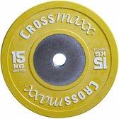 Gekleurde Competitie Olympische Bumper Plate 50mm 15 kg - geel
