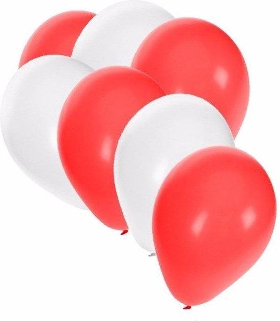 50x Ballonnen wit en rood - knoopballonnen