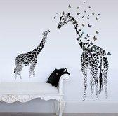 Moderne Giraffe Met Vlinders Muursticker - Decoratie Sticker Muur & Wand - Voor Woonkamer Slaapkamer / Kinderkamer / Babykamer Jongens & Meisjes - Muurdecoratie Wanddecoratie