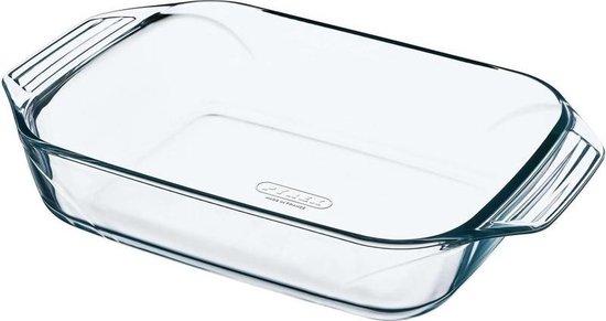 Rechthoekige glazen ovenschaal 4 liter 39 x 26 x 6,5 cm - Ovenschotel schalen - Bakvorm