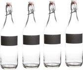 4x Waterfles met krijtvak - 4x beugelfles met krijtvak - 4 stuks