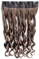 Clip in hairextensions 1 baan wavy bruin / rood - M2/30