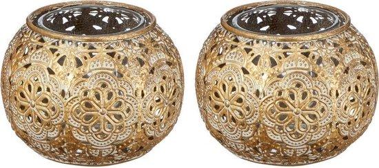2x Gouden waxinelicht / theelicht houder met glas 7 cm - Woonaccessoires/woondecoraties kaarsenhouders