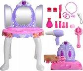 Luxe Make Up Tafel Met Licht & Geluid - Prinses Dressing Table - 3 Spiegels - Meisjes Visagie Toilettafel Kaptafel Stoel Kruk - Opmaaktafel - Blauw