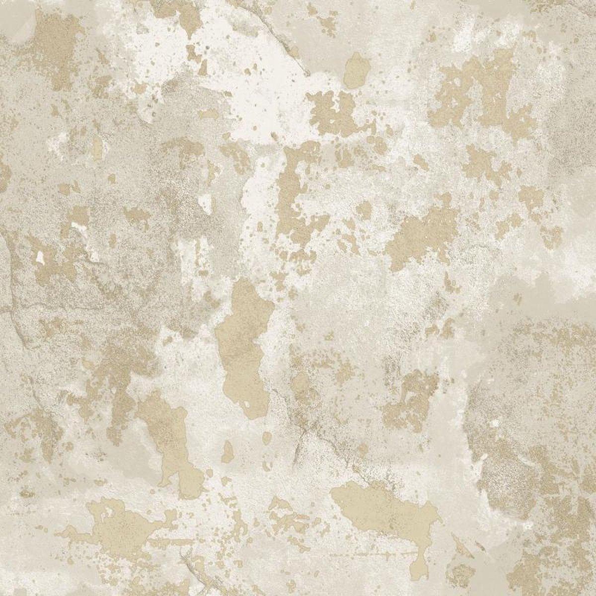 ZERO   Beton stuc look   beige, nude, goud,   vinyl o vlies 0,53x10m