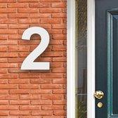 Huisnummer Acryl wit, cijfer 2 Hoogte 16cm | Huisnummer plexiglas | Huisnummer modern | Huisnummer kopen | Topkwaliteit | Gratis verzending!