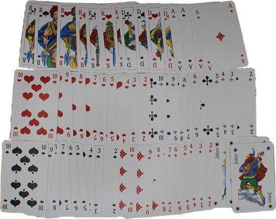 Thumbnail van een extra afbeelding van het spel 2 x 56 Luxe Speelkaarten - Spelkaarten - Poker Kaarten - 2 STUKS - Rood & Blauw