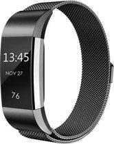 Milanees Horloge Band Voor de Fitbit Charge 2 - Milanese Metalen Watchband - Armband RVS - Zwart / Black - Maat Small