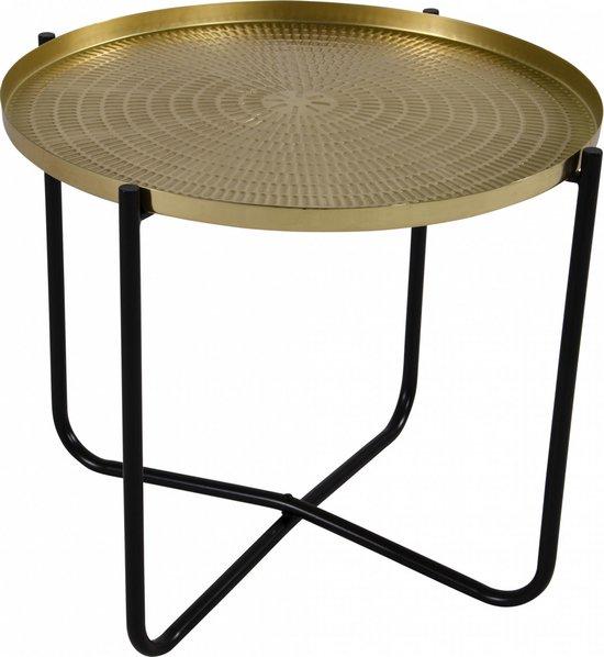 Ronde bijzettafel/plantenstandaard goud/zwart 35 cm - plantenhouder/plantentafel/oppottafel
