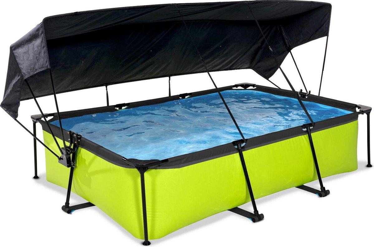 EXIT Lime zwembad 300x200x65cm met schaduwdoek en filterpomp - groen