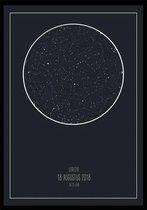 Je eigen gepersonaliseerde Star Map Blauw (sterrenposter) A4