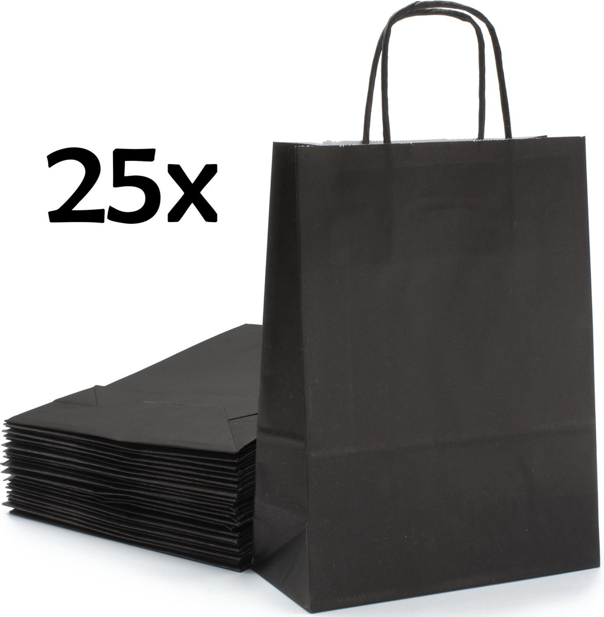 PrimeAmbition Kraft Papieren Tasjes Met Handvat   25 Stuks   Zwart   18 x 8 x 24 cm   Papieren Zakje