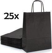 PrimeAmbition Kraft Papieren Tasjes Met Handvat – 25 Stuks – Zwart – 18 x 8 x 24 cm – Papieren Zakjes - Gift Bag – Geschenktas – Cadeautasjes – Cadeauzakjes – Cadeau Tas