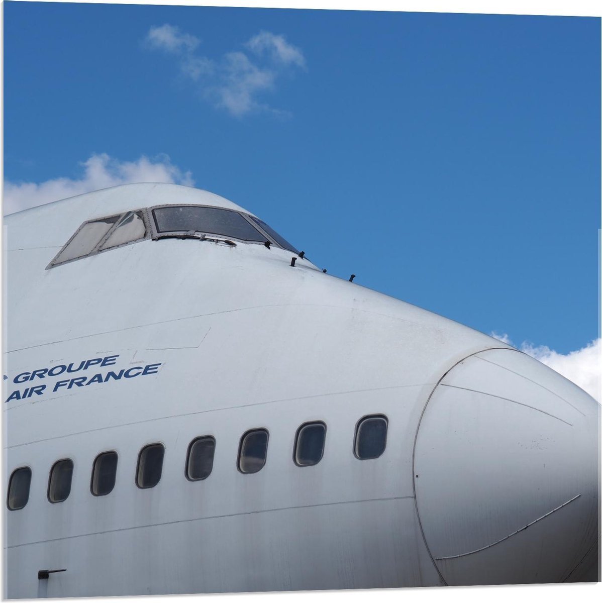 Plexiglas - Voorkant Wit Vliegtuig  - 80x80cm Foto op Plexiglas (Wanddecoratie op Plexiglas)