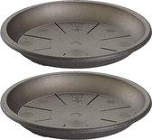 2x stuks opvangschaal/onderbord Plantenpot antractiet rond 32 cm - Kunststof - voor een pot van 40/45 cm diameter