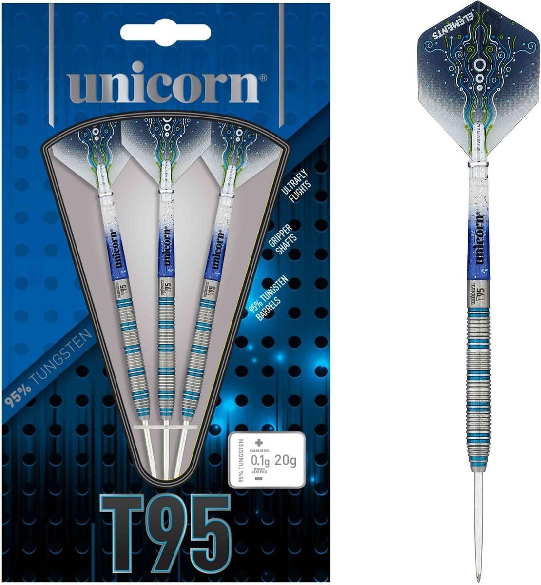 Unicorn Dartpijlen Core Xl T95 Steeltip 20g Tungsten Zilver