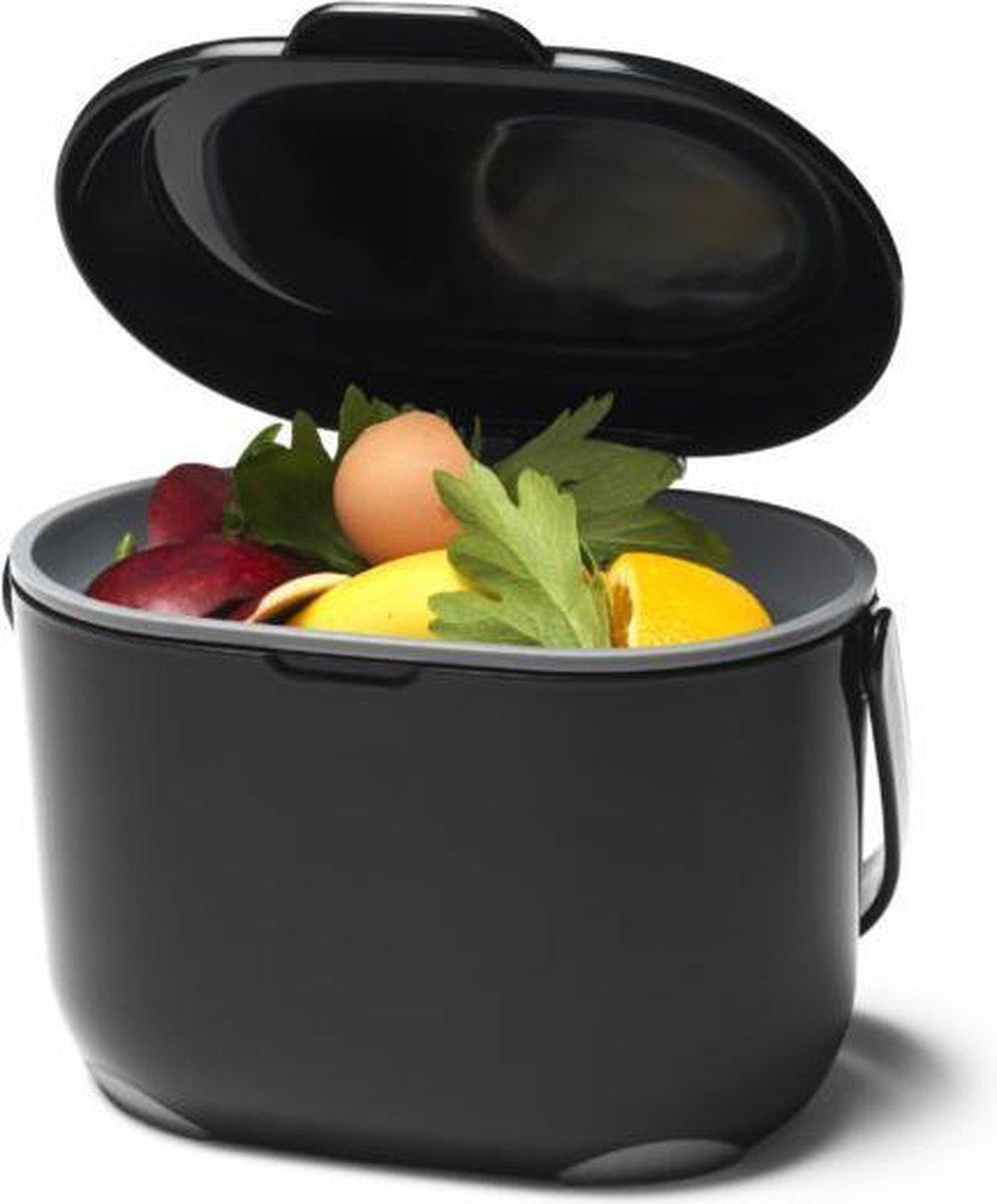 Compost Caddy GFT afvalbakje met losse binnenemmer - 3 l - zwart / grijs