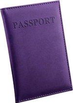 Paarse leren Paspoorthouder - Paspoort Hoesje - Cover - Mapje