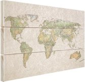 Vintage gekreukelde wereldkaart Hout 30x20 cm - klein - Foto print op Hout (Wanddecoratie)