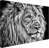 Leeuw zwart/wit in de winter  Canvas 120x80 cm - Foto print op Canvas schilderij (Wanddecoratie woonkamer / slaapkamer) / Dieren Canvas Schilderijen