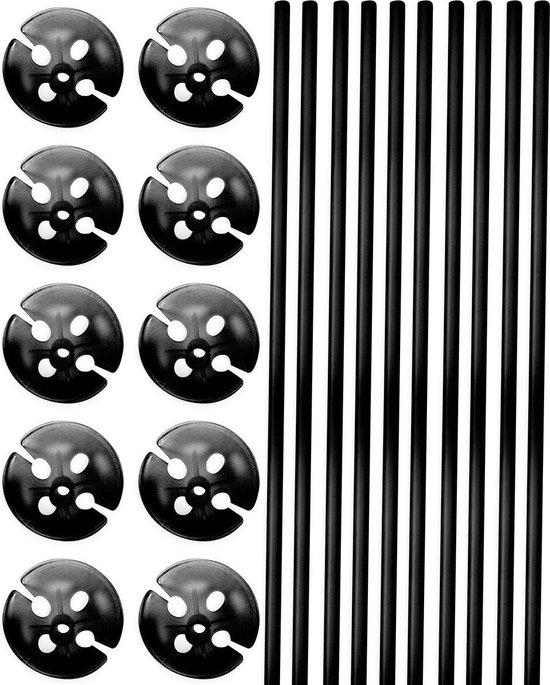 Zwarte Ballonstokjes met Houders - 10 stuks