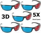 5 Stuks - Rood Cyaan 3D Bril Zwart