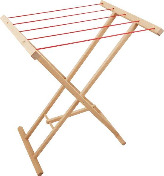 Playwood - Houten droogrek met 5 rode waslijnen - Speelgoed wasrek