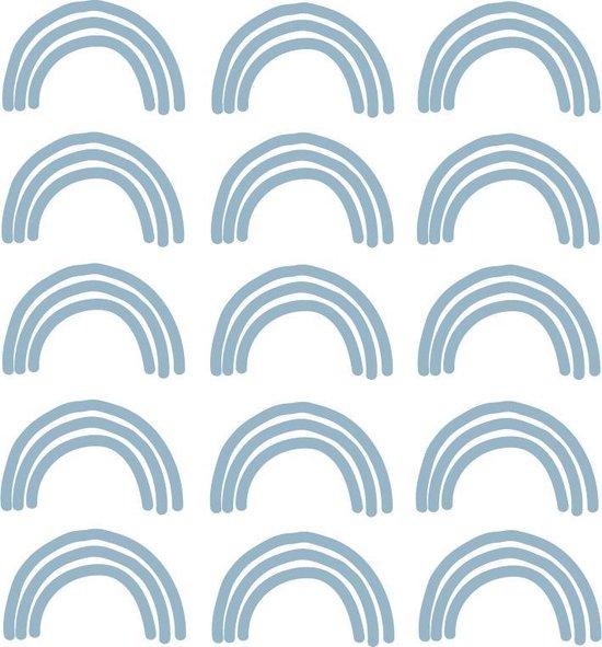 My little rainbow - Regenboog muurstickers blauw 15st - 6x10cm