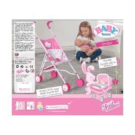 Baby Born roze Poppenbuggy