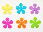 Papillon antislip bloemen voor in douche of bad - 6 stuks assorti kleuren pvc