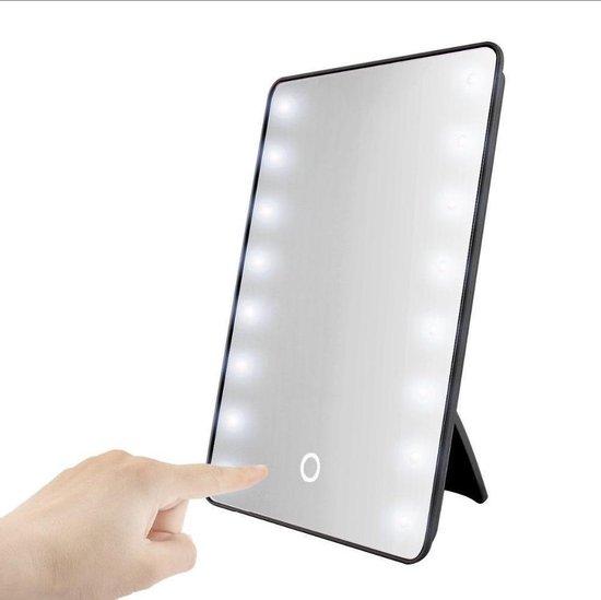 Benson Make Up Spiegel met 16 LED - Cosmetische Spiegels met Touch Dimmer - Stand