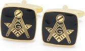 Manchetknopen - Vrijmetselaars Zwart Emaille en Goud