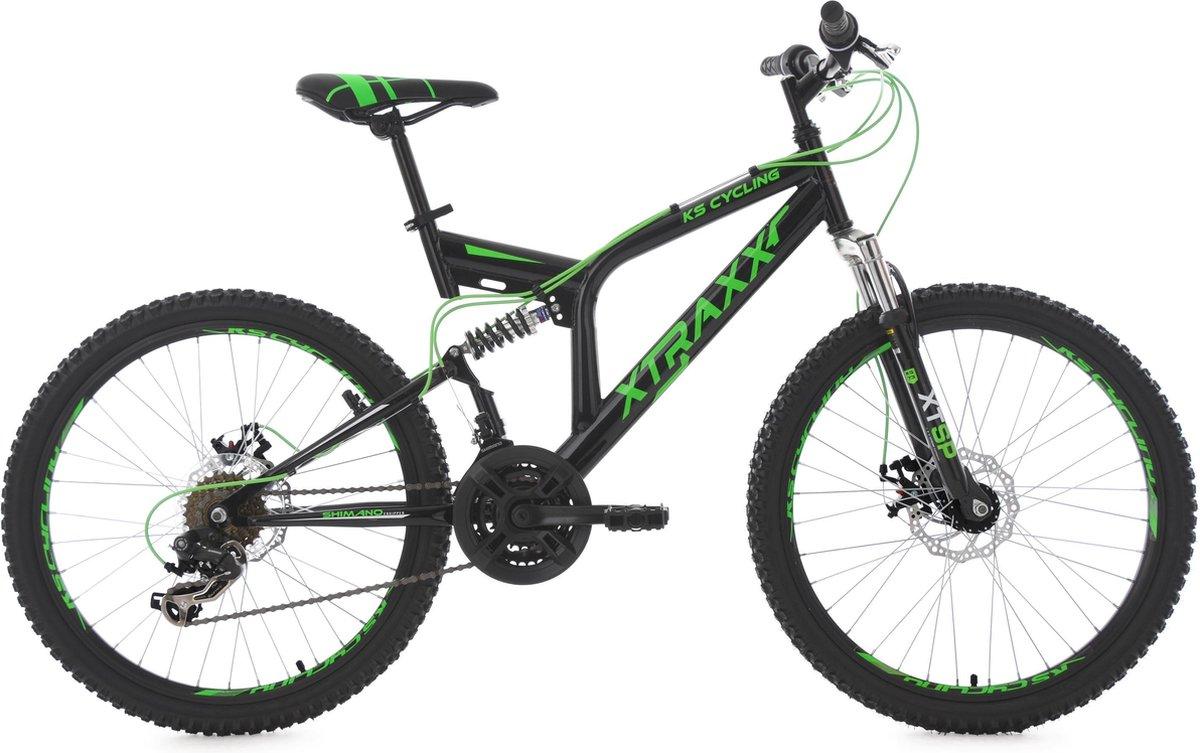 """Ks Cycling Fiets KS Cycling fiets mountainbike 24"""" XTRAXX zwart-groen - 43 cm"""